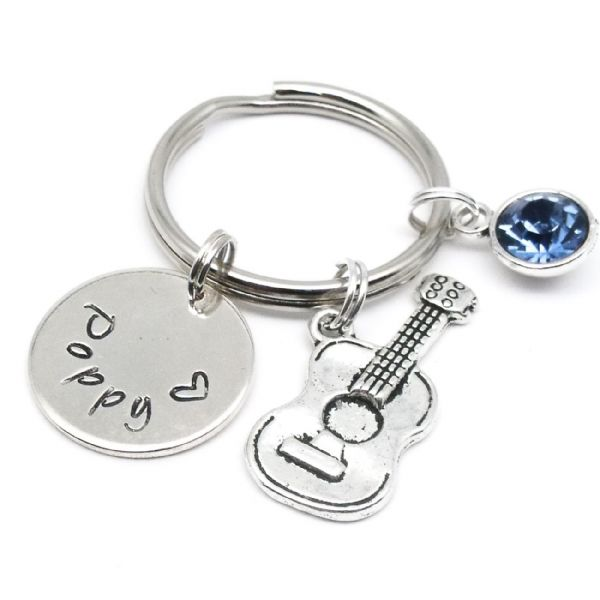 Guitar charm keyring gift personalised name & birthstone